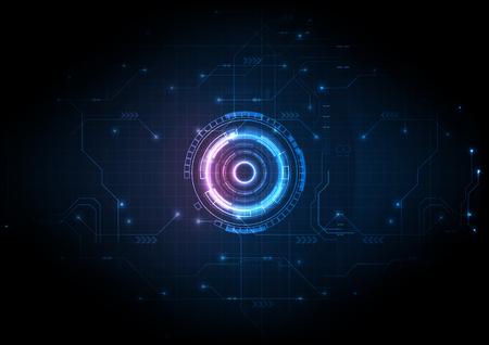 Technologie de circuit de jeu futuriste à lumière bleue Vecteurs