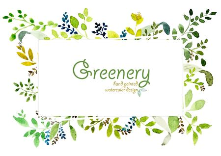 Watercolor hand painted greenery design. vector design for invitation, wedding, save the date, poster, greeting card, text space frame.