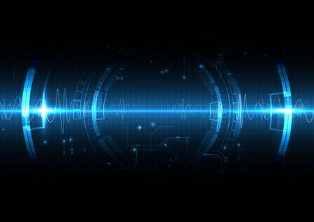 Blue Light Technology Shockwave Background with sound wave Vettoriali