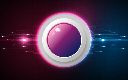 Realistic circle pink and blue button on abstract technology background, digital communication network computer, futuristic energy science system