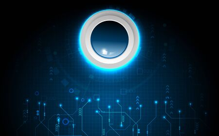 Realistic circle blue button on abstract technology background, digital communication network computer, futuristic energy science system Çizim