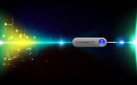 Realistic connect button on abstract technology background, digital communication network computer, futuristic energy science system