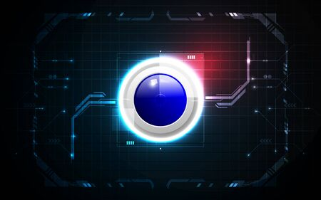 Realistic blue circle game button on abstract technology background, digital communication network computer, futuristic energy science system