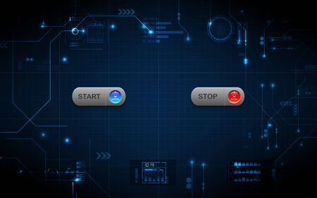 Realistic start and stop button on abstract technology background, digital communication network computer, futuristic energy science system