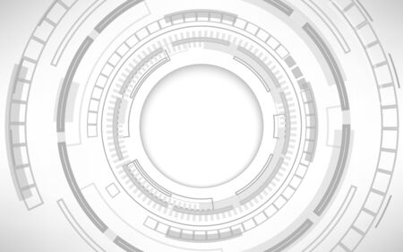 Gray and white geometric with various technology elements abstract background, digital communication network computer, Circle copy space empty