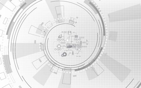 Gray and white geometric with various technology abstract background,  Circle spiral line with digital communication network computer design elements Çizim