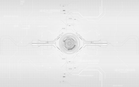 Digital communication network system computer design elements, Gray and white circle geometric technology abstract background. Çizim