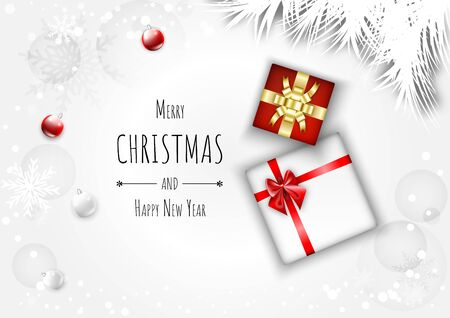 Merry christmas background with gift box and ball. Chic greeting card with Snowflakes fall on white background.