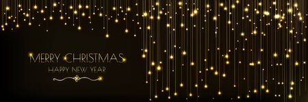 Background Christmas banner design with glowing glittering golden lights curtain. decorative design christmas headers, website, poster, greeting cards 向量圖像
