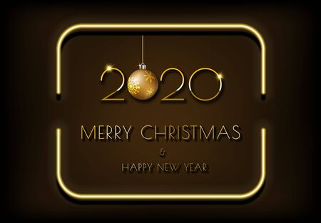 Dark brown background and golden text Merry Christmas and Happy New Year 2020 in bright glowing neon frame.