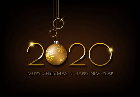 Merry Christmas and Happy New Year greeting card. Gold 2020 design on dark brown background.