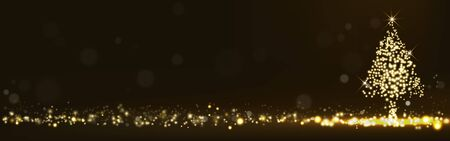 Golden Christmas tree glittering light bokeh shining, sparkling luxury On a dark background. decorative design christmas headers, website, greeting cards, anniversary, wedding