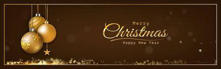 Golden Christmas balls glittering light bokeh shining, sparkling luxury On a dark background. decorative design christmas headers, website, greeting cards, anniversary Çizim