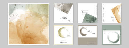 Set of Hand-painted Watercolor Card square layouts and Poster. Suitable for use as a card; greeting, invitation, cover, booklet, brochure, or poster. 向量圖像
