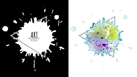 Black drops ink and colorful watercolor splash abstract design over square frame for text. Set for grunge splash textures background, vector used for decorative design.