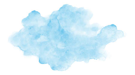 Abstract modern design with blue clouds watercolor stain hand-painted on white background. Artistic vector used as decorative design card, banner, poster, cover, brochure, Wall art.