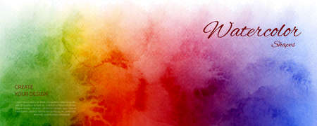 Abstract horizontal background designed with rainbow color watercolor stains. Artistic vector used as being an element in the decorative design of header, brochure, poster, card, cover or banner.