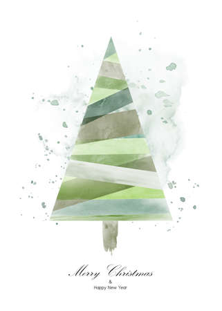 Christmas tree design with green watercolor on white background. Isolated vector element for decoration design card, invitation, poster, or banner. Ilustração