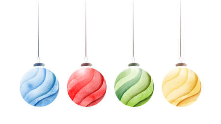 Set of creative christmas balls with bright watercolor hand-painted isolated on white background. Vector illustration art used for decoration design about festival celebration Christmas.