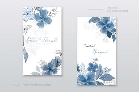 Beautiful blue watercolor flowers cards collection. Decorative vector floral elegant can be used as being postcards, greeting card, anniversary, wedding, or invitation design background