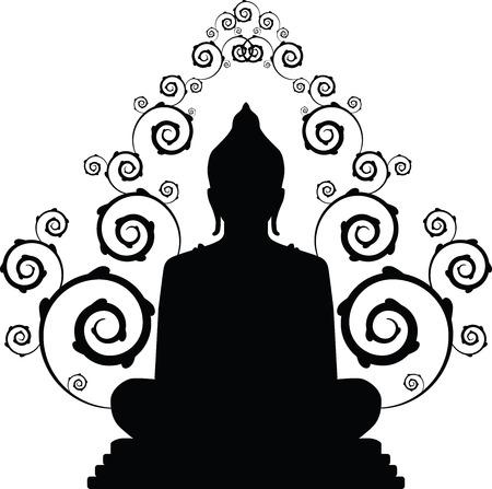 buddha silhouette in vector Çizim