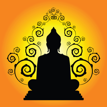 buddha silhouette in vector 向量圖像