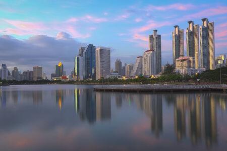 Benjakiti park, Bangkok Thailand, before sunset photo