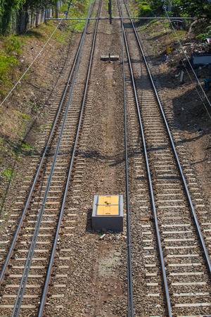Double railway track photo