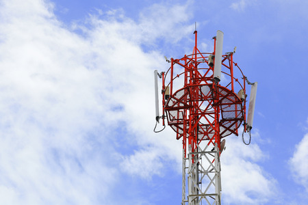 telecommunication tower: Telecommunication Tower with blue sky Stock Photo