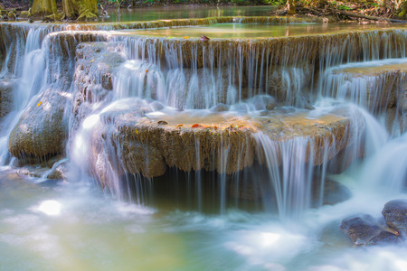Beautiful waterfall, Huay Mae Ka Min waterfall at National Park Kanjanaburi, Thailand