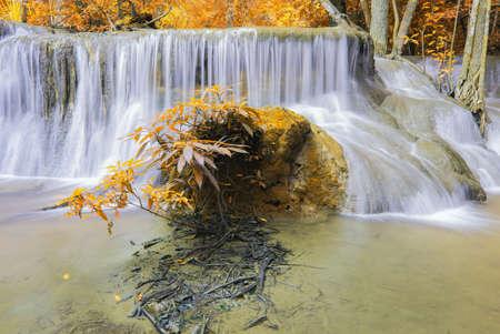 Waterfall in National park Kanchanaburi, Thailand photo