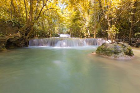 Deep forest Waterfall in Kanchanaburi, Thailand photo