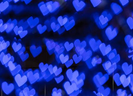 corazones azules: Corazones azules abstractas del bokeh Foto de archivo