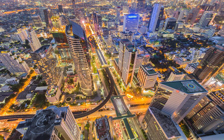 Aerial view building city center in Bangkok, Thailand photo
