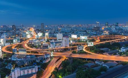 arial: Arial view of Bangkok city express way at night