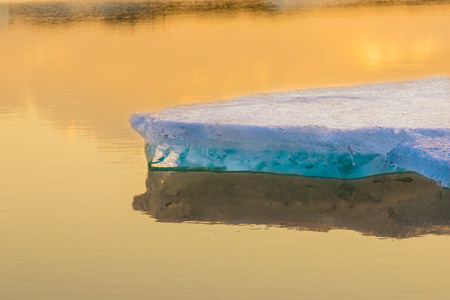 icefjord: Blue icebergs of Iceland before sunset. Deep pure waters of northen seas.