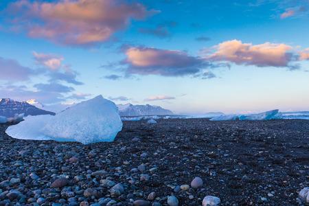 icefjord: Ice on volcano sand rock