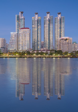 benjakitti: Mid town of Bangkok business area with water reflection