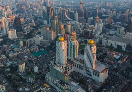 Aerial view of Bangkok, Thailand at sunset. photo