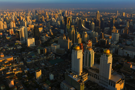 Bangkok Thailand skyline aerial view with beauty of Sunset photo