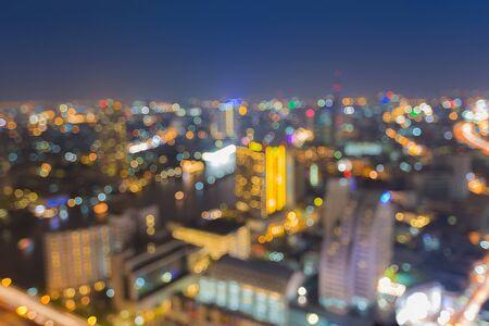 Abstract bokeh Bangkok stad 's nachts het licht Stockfoto