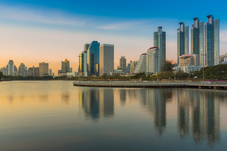 benjakitti: Sunset at Bangkok city downtown twilight with reflection of skyline,Benjakitti Park, Thailand