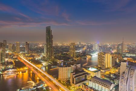 skylines: Twilight of Bangkok skylines with Chao Phraya river curve, Bangkok Thailand