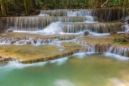 stream of water: Blue stream water falls, located in Western of Thailand
