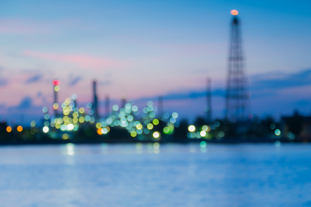 Abstract blur Bokeh of oil refinery sunrise