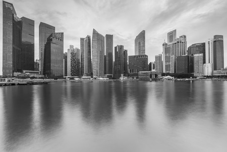 bay: Black and white of Cityscape at Marina Bay Business District Singapore Editorial