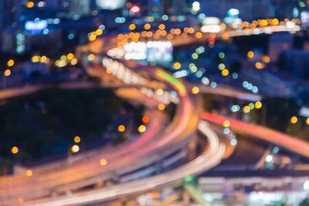 interchanged: Blur bokeh of city expressway interchanged during twilight