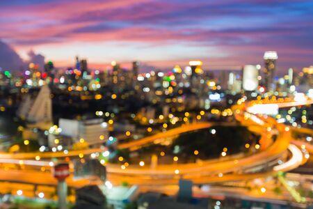 City highway crossover blur bokeh lights view