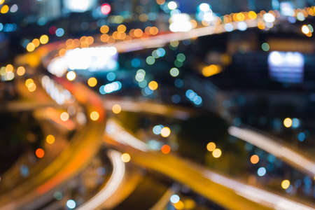 elevated: Bangkok Elevated Highway with at night Blurred Defocused Bokeh Background