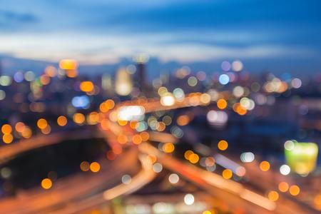 Abstract blur bokeh city street lights night background Standard-Bild